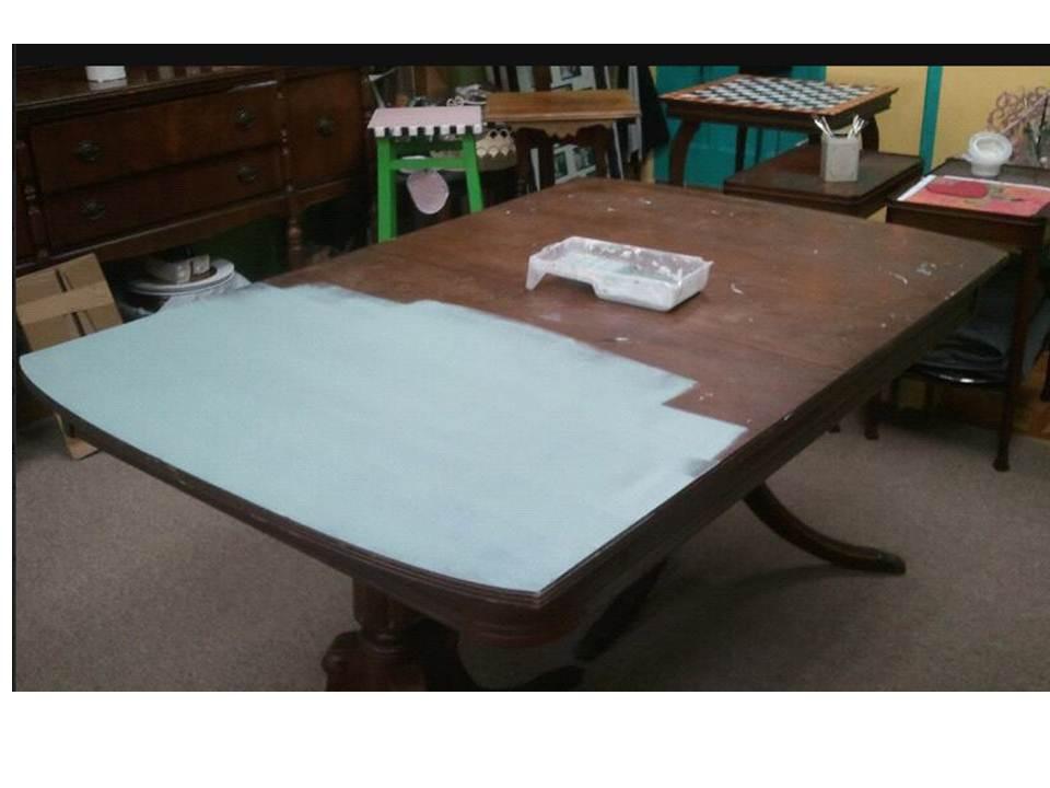 Oh Yes Did I Mention This Is One Coat Of Chalk Paint In Duck Egg Blue On Table What Do You Think The Coverage No Trick Photography Heck Am