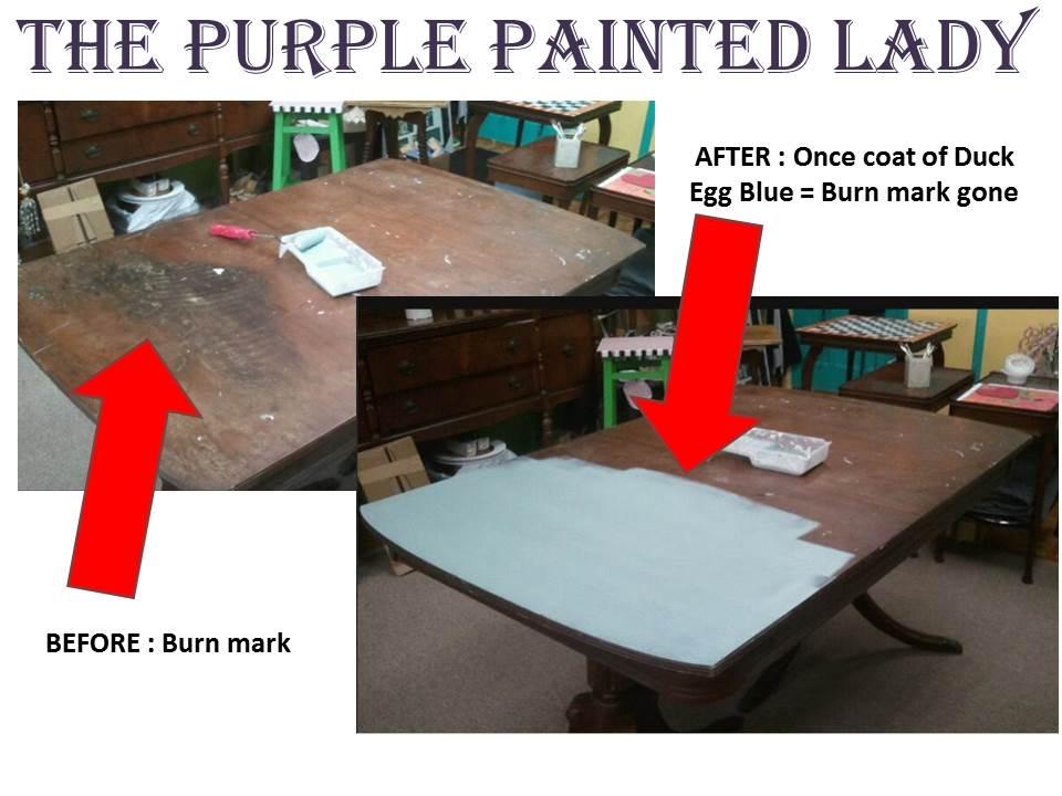 shop table TLC cover burn mark Duck Egg Blue