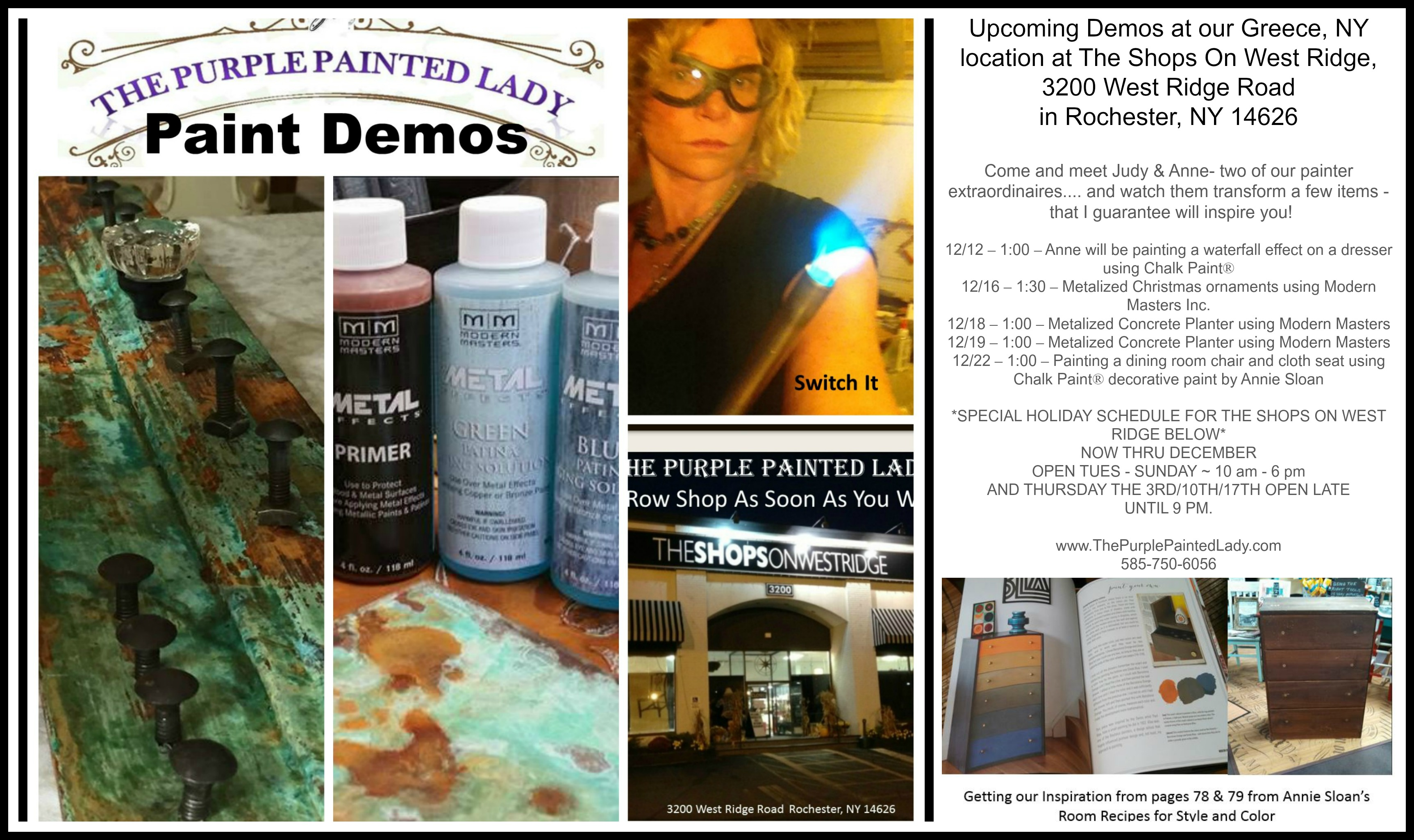 Judy and Anne Holiday Demo Greece schedule 2016 shops The Purple Painted Lady