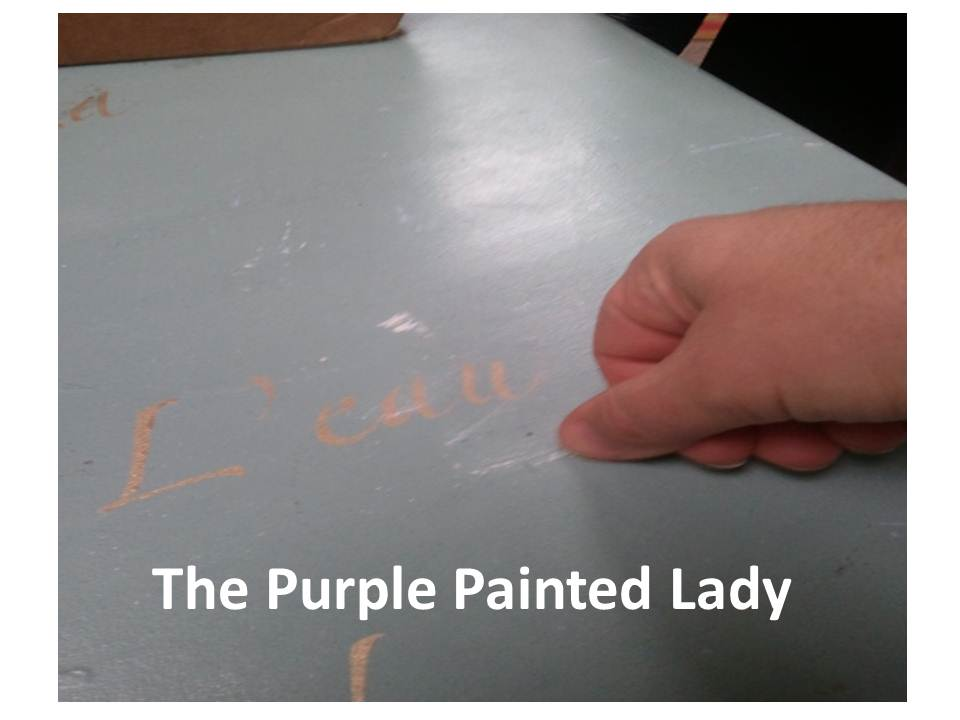 Using My Finger I Scratched Off The Paint On Table That Was Not Suppose To Be There In This Case It Is Old White Spilled Provence