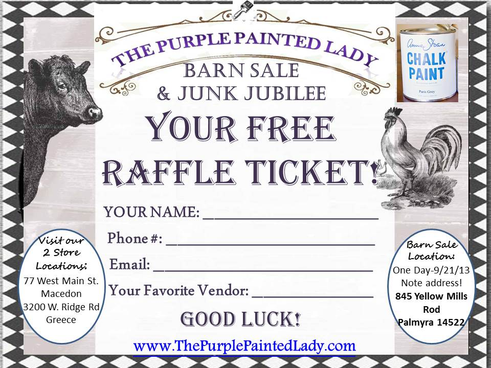 Barn Sale 9.21 Raffle Ticket