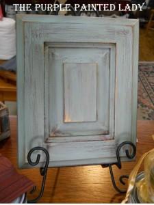Duck Egg blue Primer Red Cabinet display Close Up