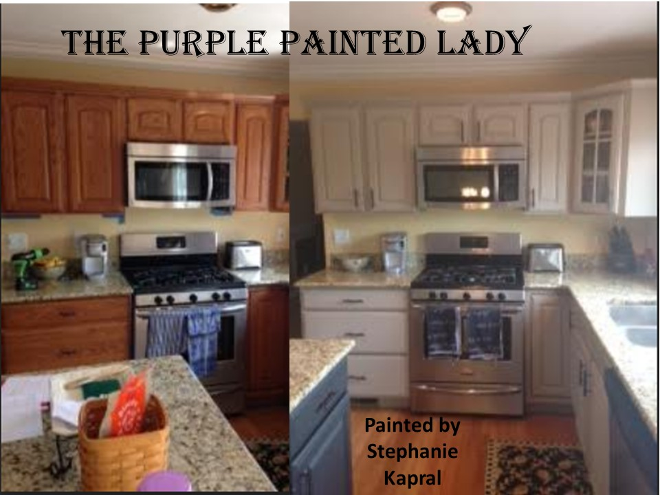Do your kitchen cabinets look tired the purple painted lady - How to glaze kitchen cabinets that are painted ...