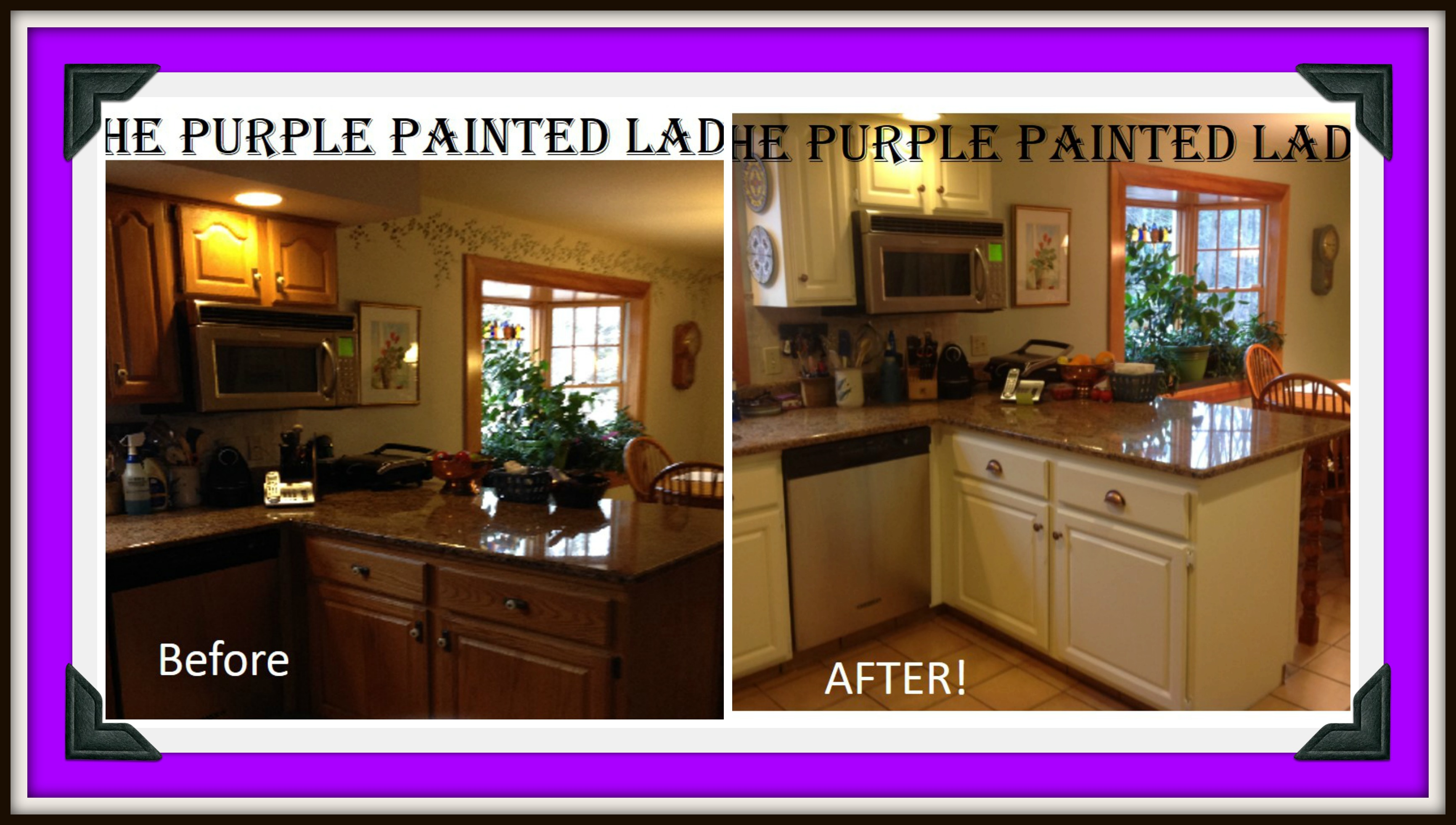 Interior Painting Stained Kitchen Cabinets do your kitchen cabinets look tired the purple painted lady picmonkey collage caninets susan old white