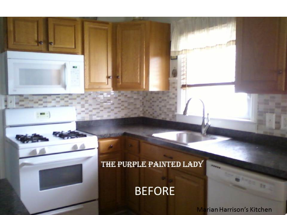 Do your kitchen cabinets look tired the purple painted lady for Before and after pictures of painted laminate kitchen cabinets