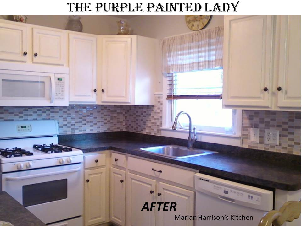 Kitchen cabinet painting the purple painted lady for Chalk paint kitchen cabinets