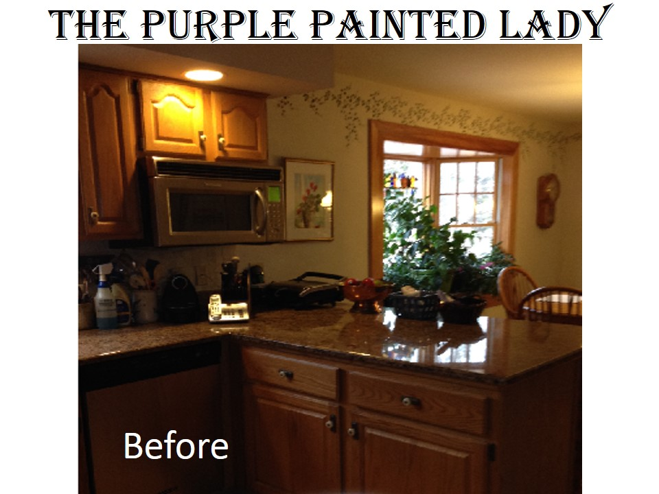 the purple painted lady kitchen before after susan old white 1 - Painted Bathroom Cabinets Before And After