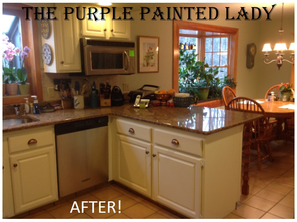 the purple painted lady kitchen before after susan old white 2 - Professional Painting Kitchen Cabinets