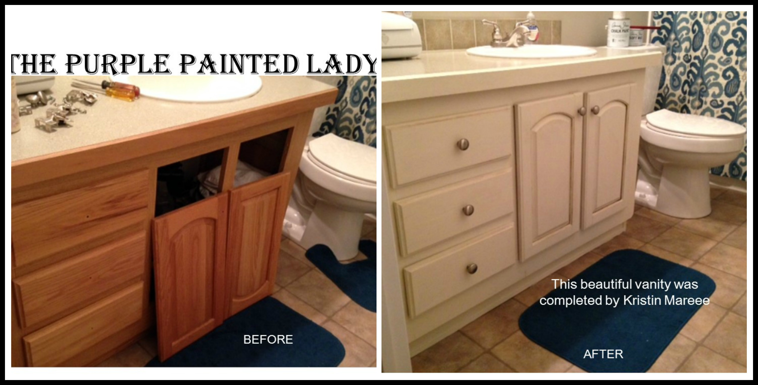 The Purple Painted Lady Vanity Before & after Chalk Paint PicMonkey Collage