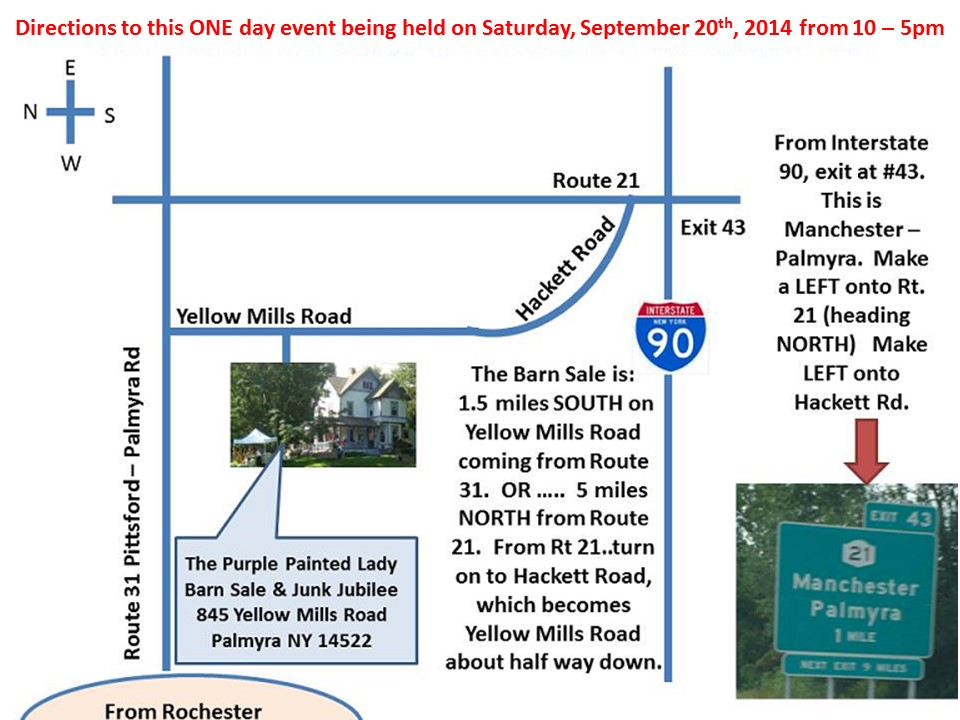 Barn Sale 2014 Directions with curve in road