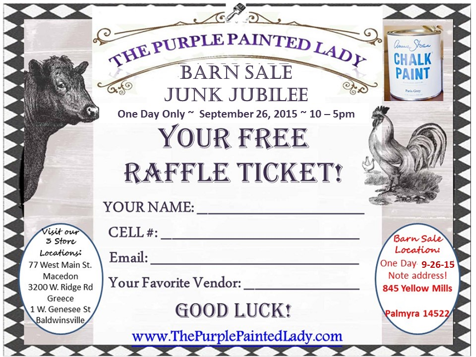 Barn Sale 2015 Chalk Paint Logo The purple Painted Lady RAFFLE 2015