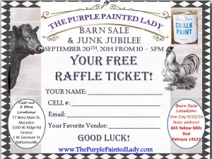 Barn Sale Flyer The Purple painted Ladt RAFFLE 2014