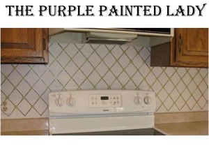 Harlequin kitchen backsplash with name