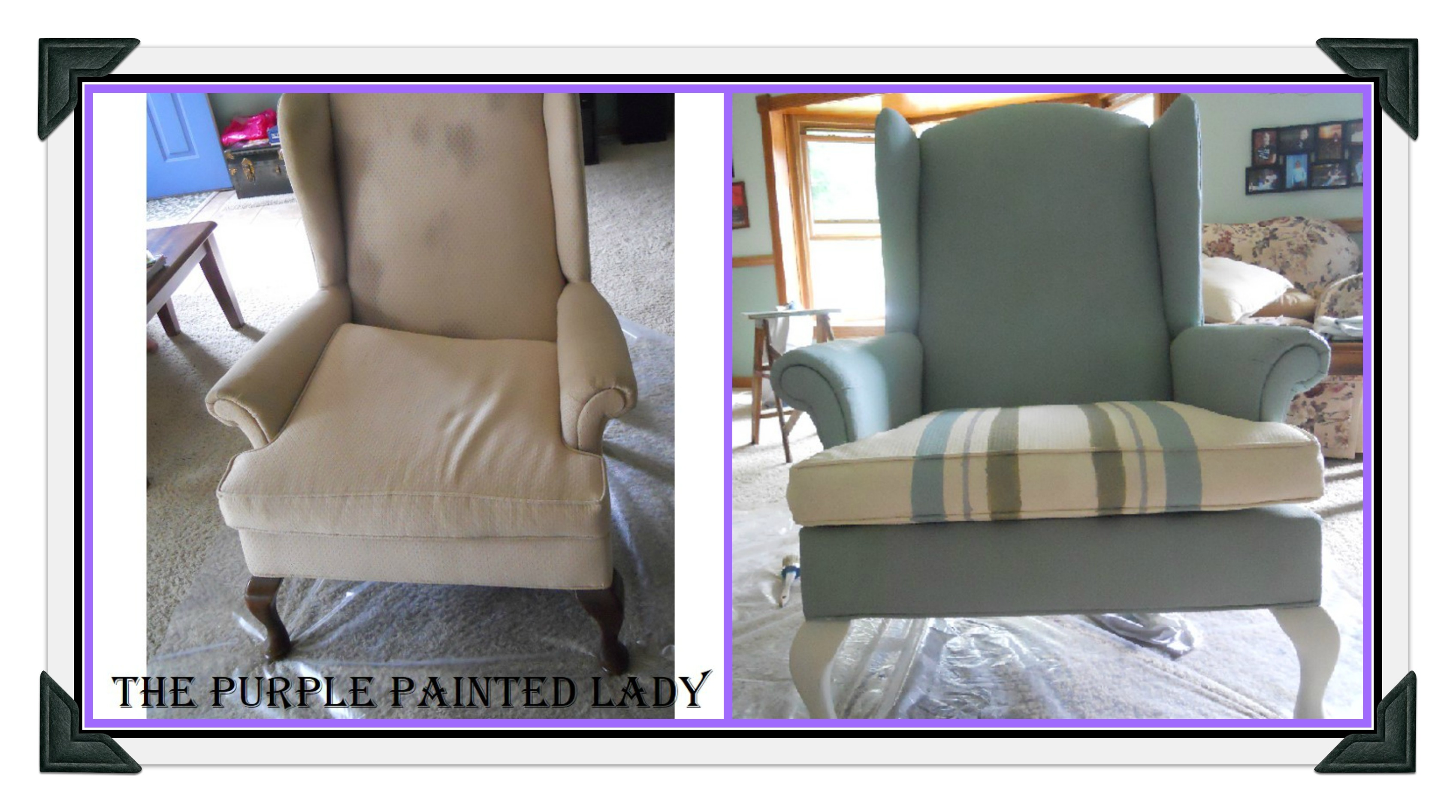 Furniture Fabric Painted In Purple Chalk Paint