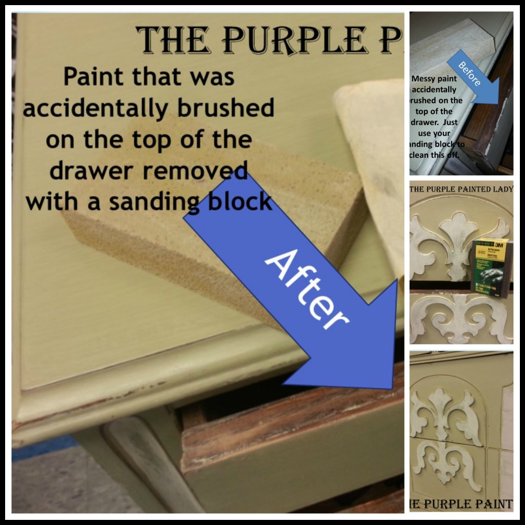 PicMonkey Collage The Purple Painted Lady Sandinf Block sponge drawer clean chalk paint