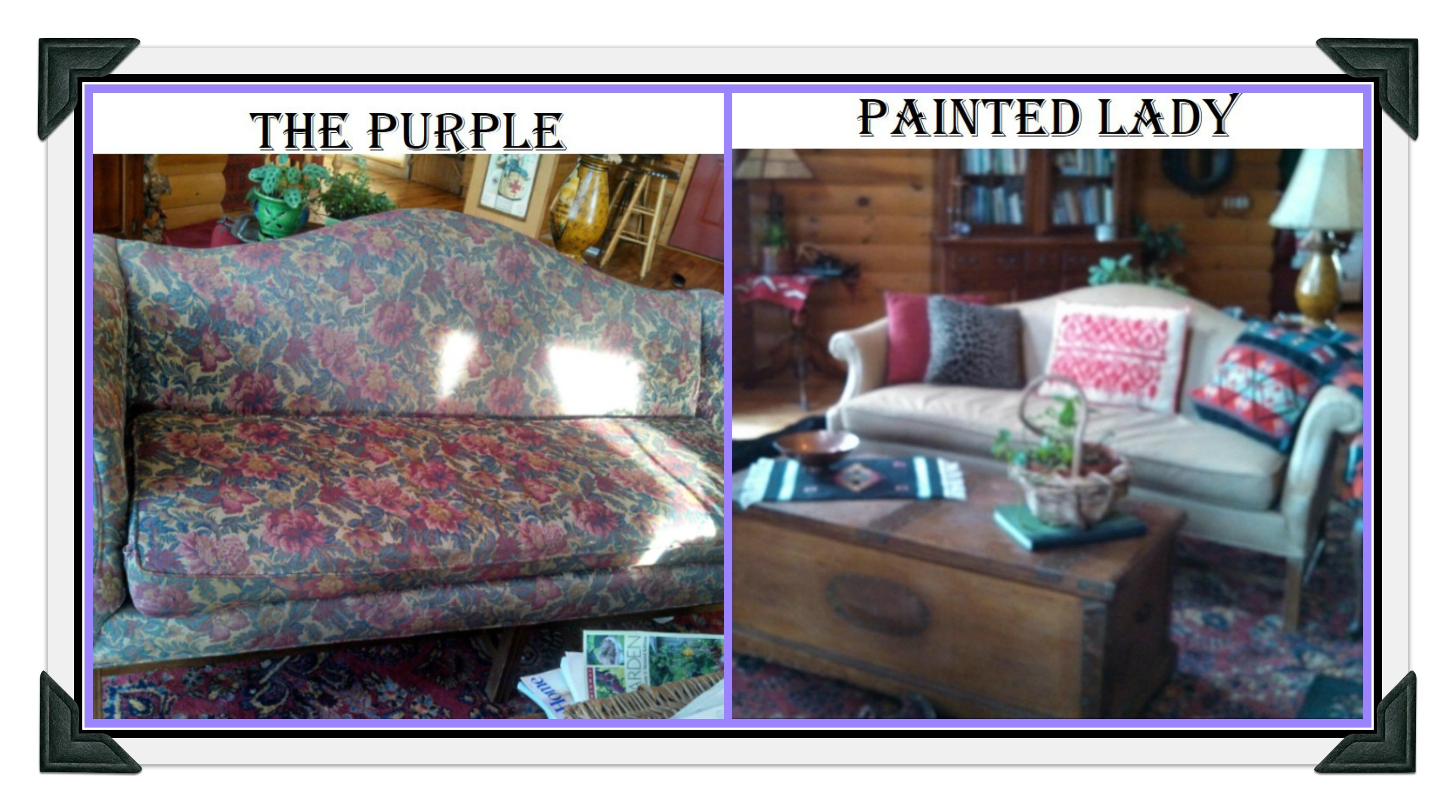 PicMonkey Collage Painted Couch The Purple Lady Before After