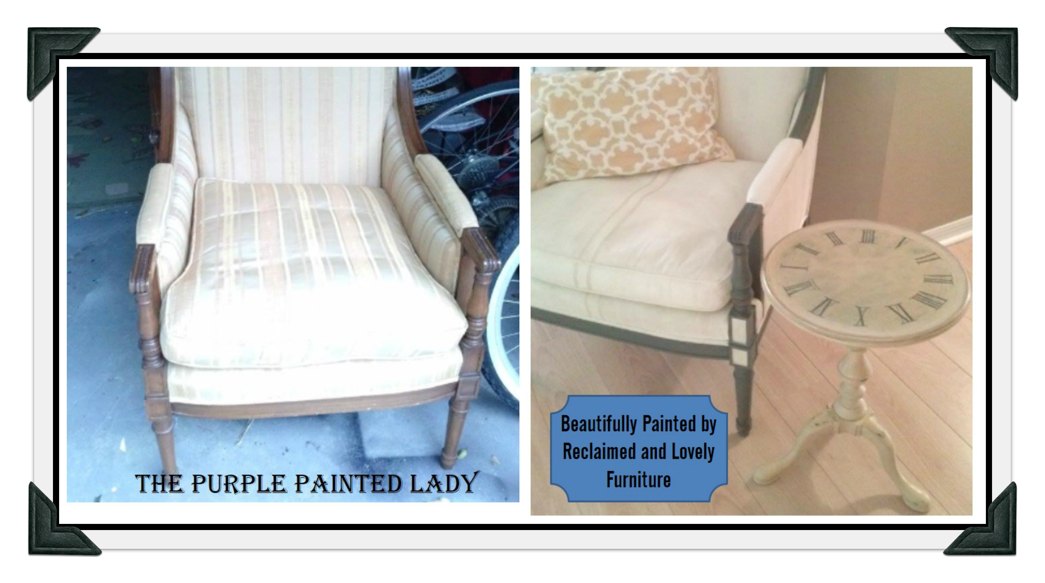 PicMonkey Collage The Purple Painted Lady Reclaimed And Lovely Furniture  Fabric Chair Chalk Paint