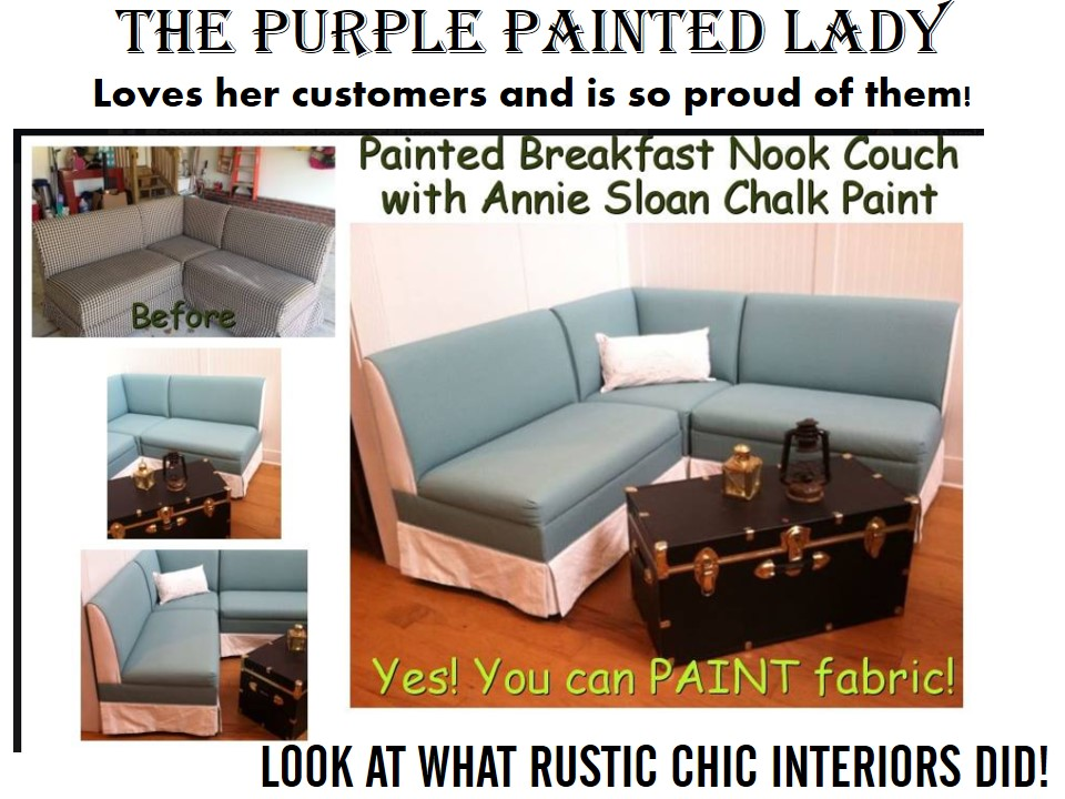 Sarah Cornett The Purple Painted Lady Painted Chalk Paint Fabric Couch rustic chic interiors 2