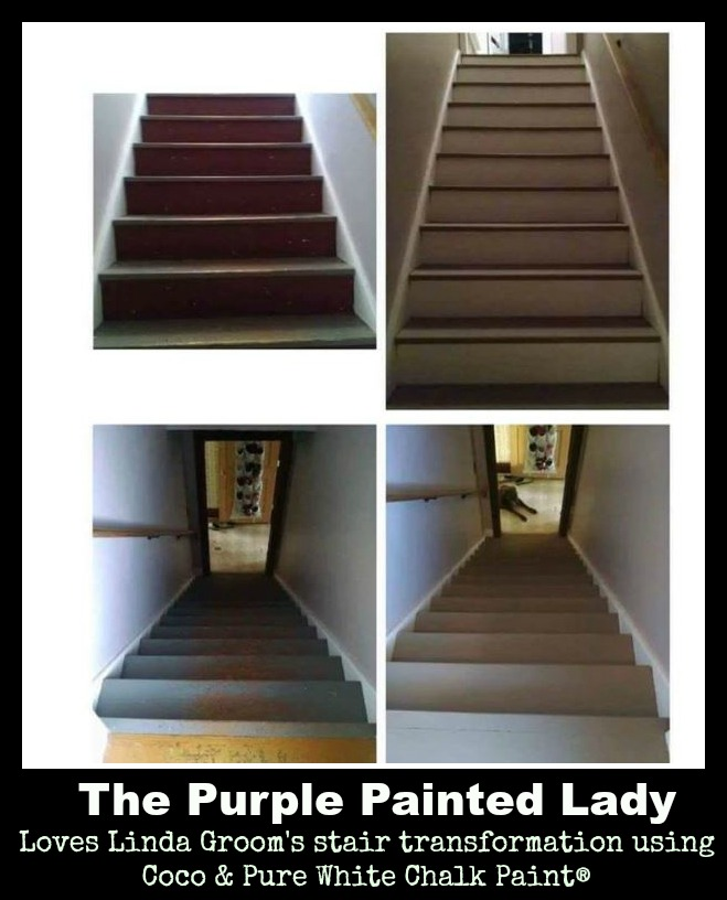 The Purple Painted Lady Linda Groom Chalk Paint stairs Annie Sloan Lacquer Coco Pure White