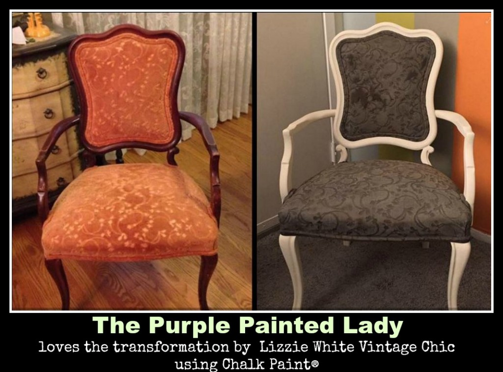 The Purple Painted Lady Michael Herrmann Chalk Paint Annie Sloan Chairs with fabric Graphite Lizzie White Vintage Chic