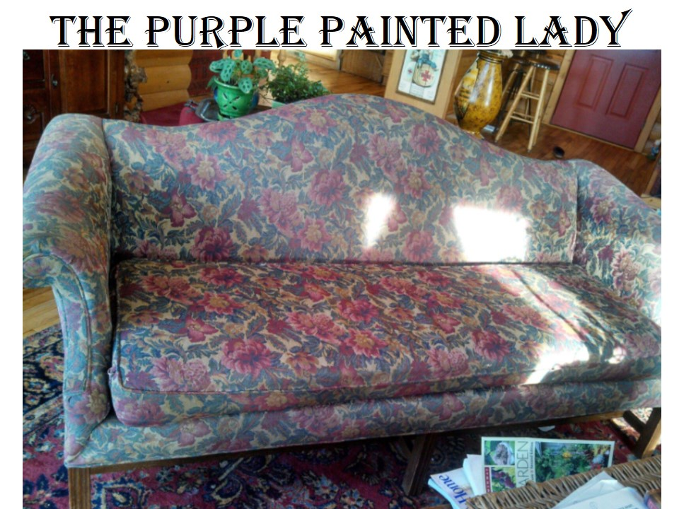 The Purple Painted Lady Painting a couch chalk Paint fabric BEFORE After 1 & Using Chalk Paint® to Paint Your Couch or Wing Back Chair (Fabric or ...