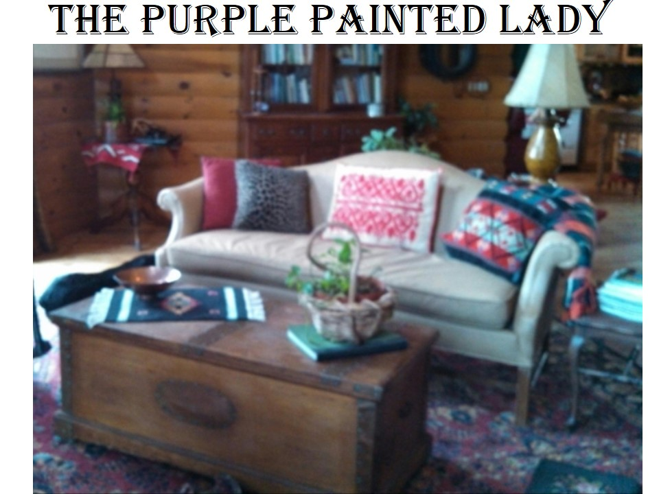 The Purple Painted Lady Painting a couch chalk Paint fabric before after 2