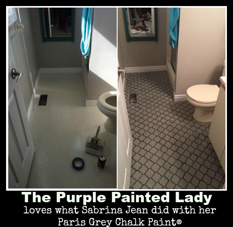 The Purple Painted Lady Sabrina Jean Paris Grey Pure White Chalk Paint linoleum