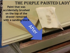 The Purple Painted Lady Versailles Antoinette sanding block drawer AFTER 2