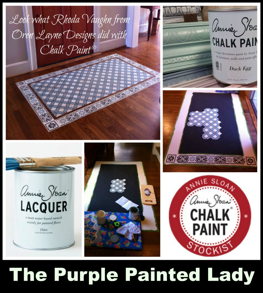 the purple painted lady Chalk paint lacquer floor rhoda duck  egg stencil