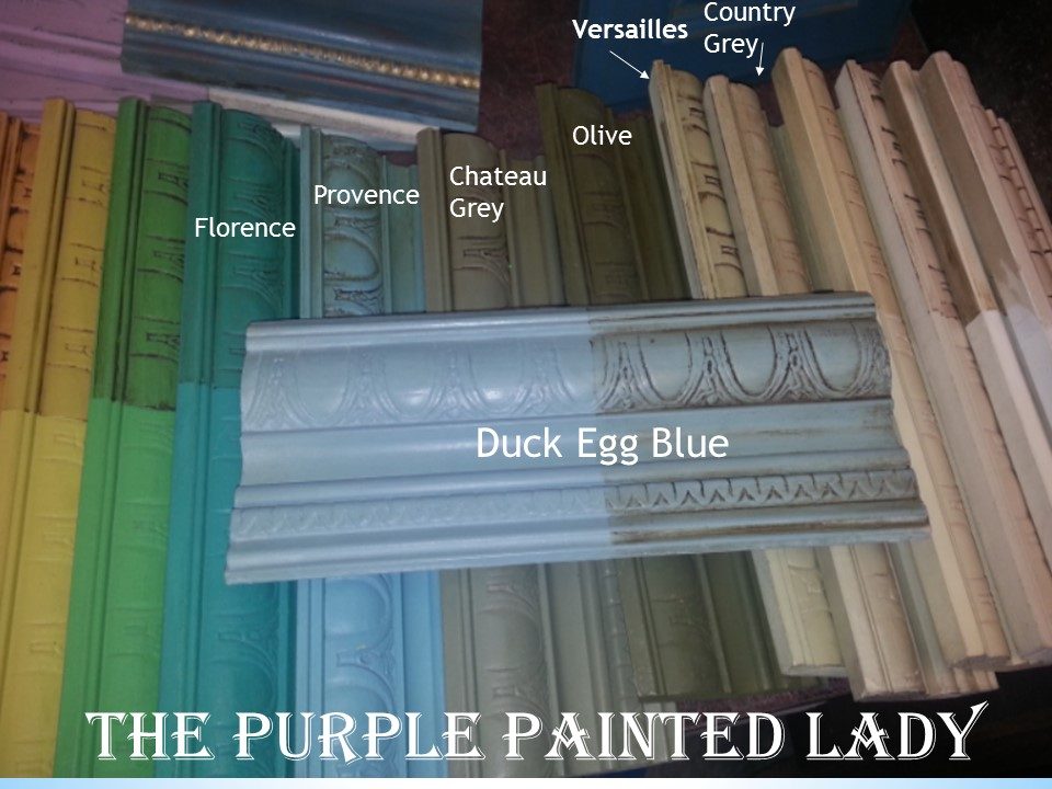 Duck Egg Blue with Green Olive Versailles Chateau Comparison Sample Boards Labeled The Purple Painted Lady Chalk Paint
