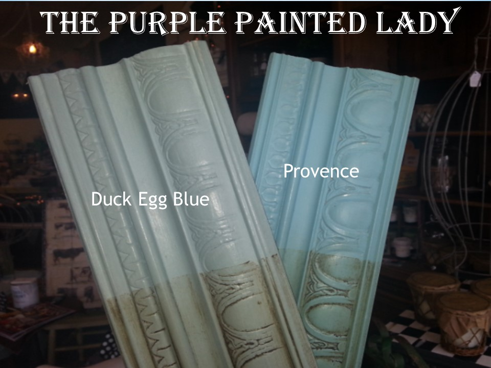 Duck Egg Provence Comparison sample board  The Purple Painted Lady