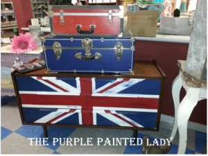 Inside of store 77 west main street Union Jack suitcases