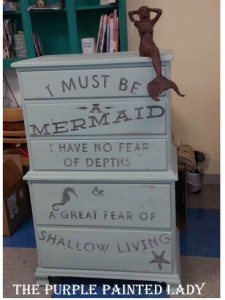 Mermaid dresser with mermaid statue