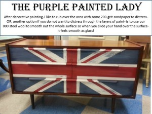 Union Jack Mid Century Dresser after distressing steel wool
