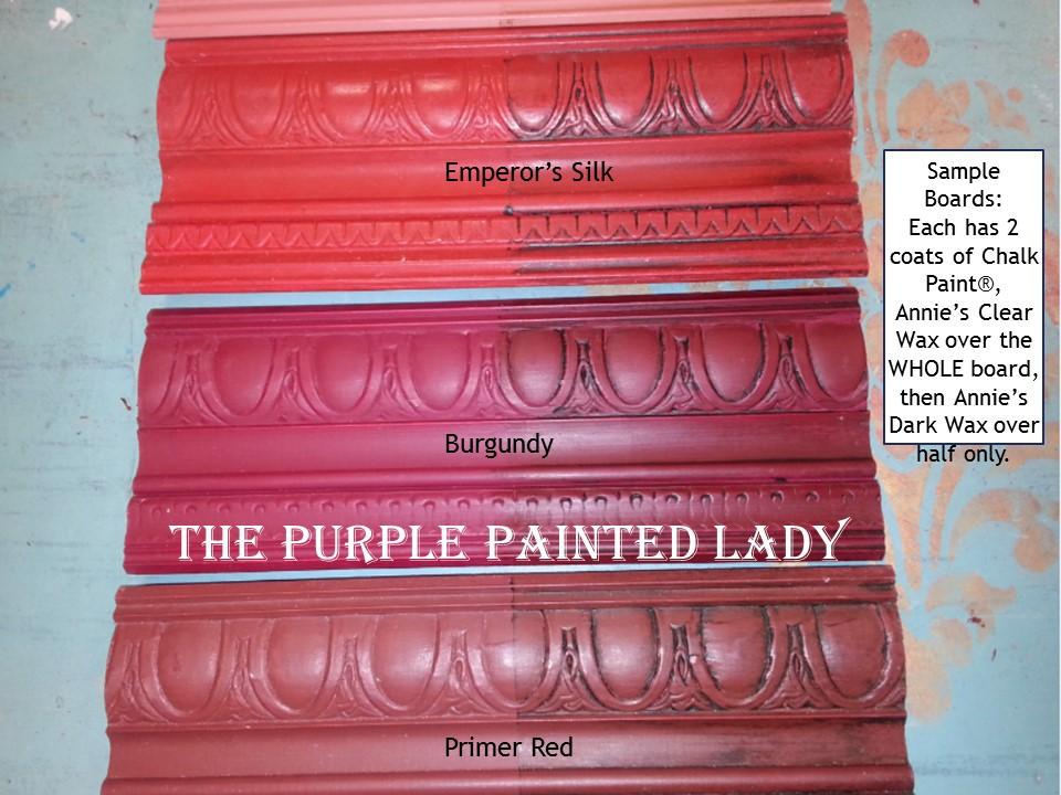 Burgundy  Sample Board Comparison The Purple Painted Lady Chalk Paint Chalk Paint