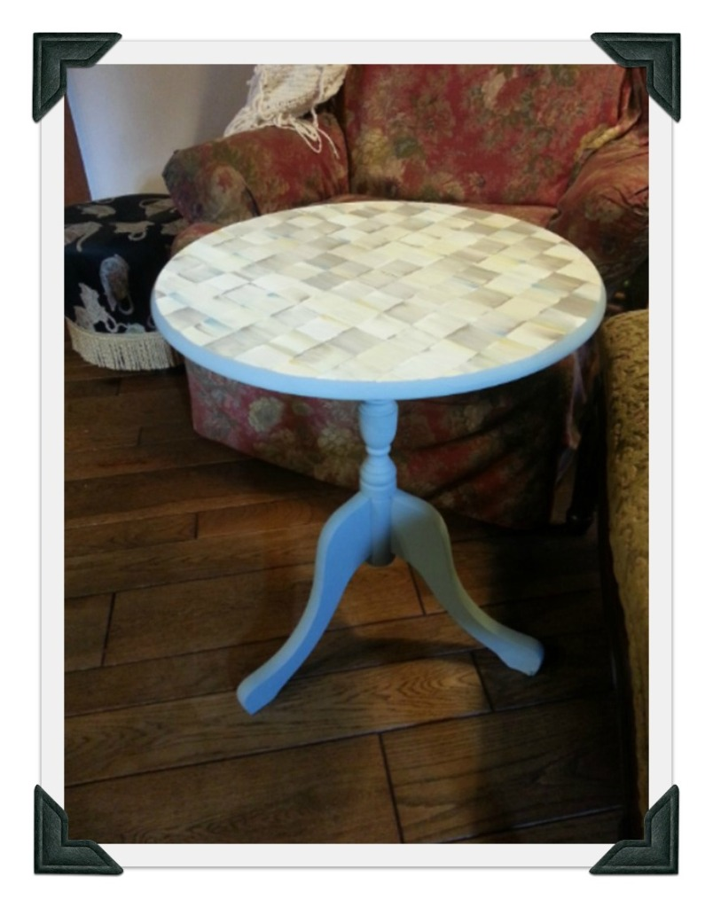 The purple painted Lady whimsy table parchment  checks standing Chalk Paint