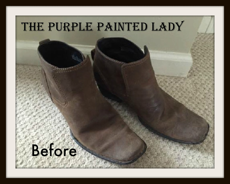 296a46c87d5 Paint your old leather boots with Chalk Paint® by Annie Sloan? Absolutely!  The Purple Painted Lady BEFORE BOOTS Indigo Tones BEFORE Books