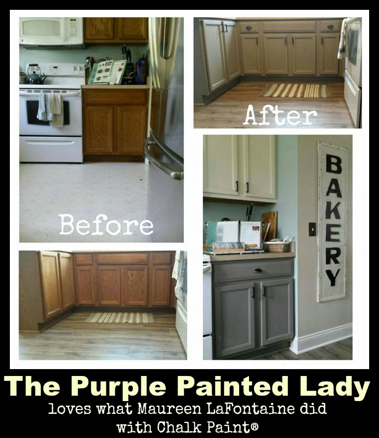 The Purple Painted Lady Maureen Gaffney LaFontaine Kitchen transformation Chalk Paint before after