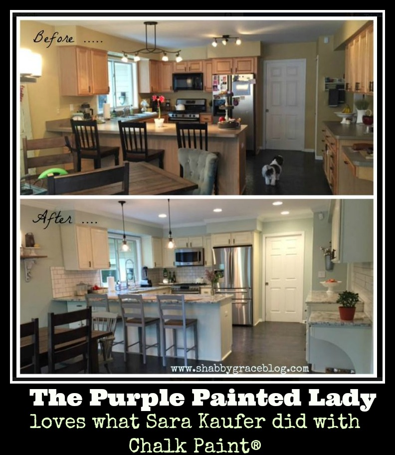 The Purple Painted Lady Sara Kaufer Chalk Paint Kitchen Before after Shabby by Grace Blogs
