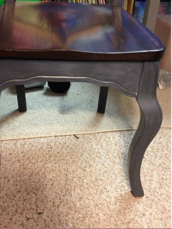 The Purple Painted Lady Graphite Chair Close Up Java Chalk Paint Anne French