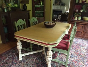 BEFORE The Purple Painted Lady Indigo Tones dining table Florence