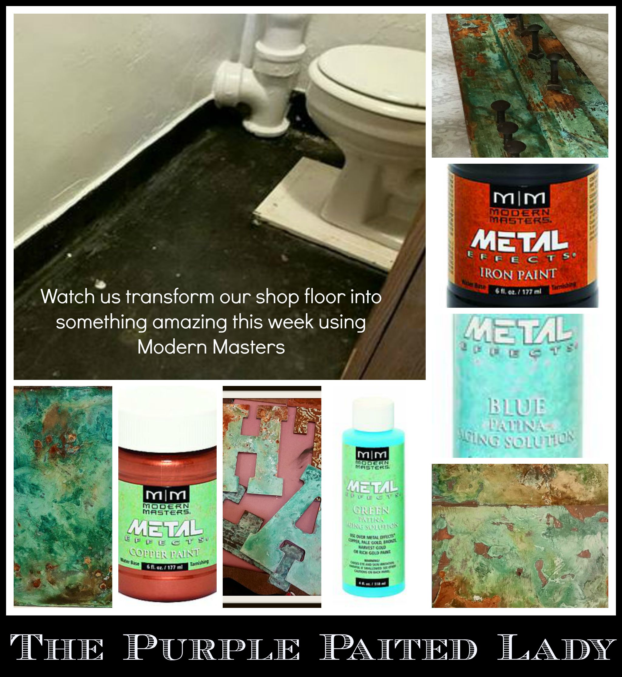 The Purple Painted Lady Bathroom floor South wedge Modern Masters collage
