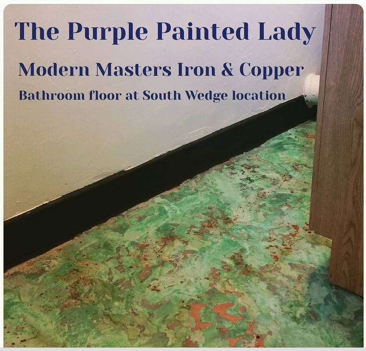 The Purple Painted Lady Bathroom floor copper and iron South wedge finished floor
