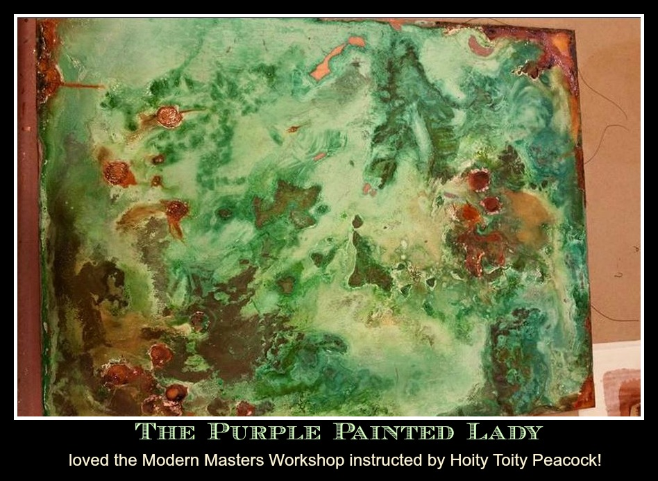 The Purple Painted Lady Modern Masters Copper Iron Rust Green Blue activator Hoity Toity Peacock