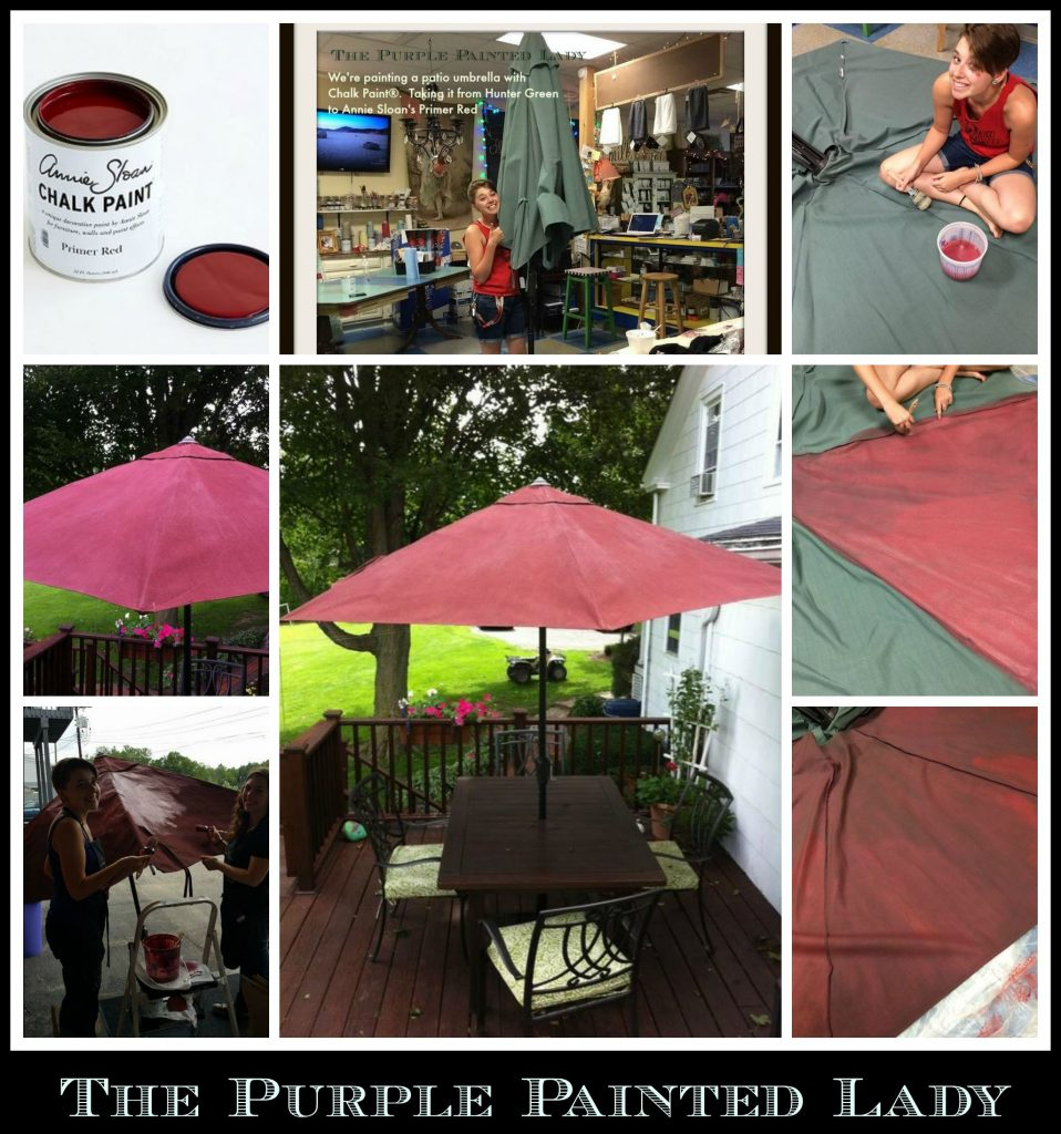 We Painted A Patio Umbrella With Chalk Paint The Purple Painted Lady