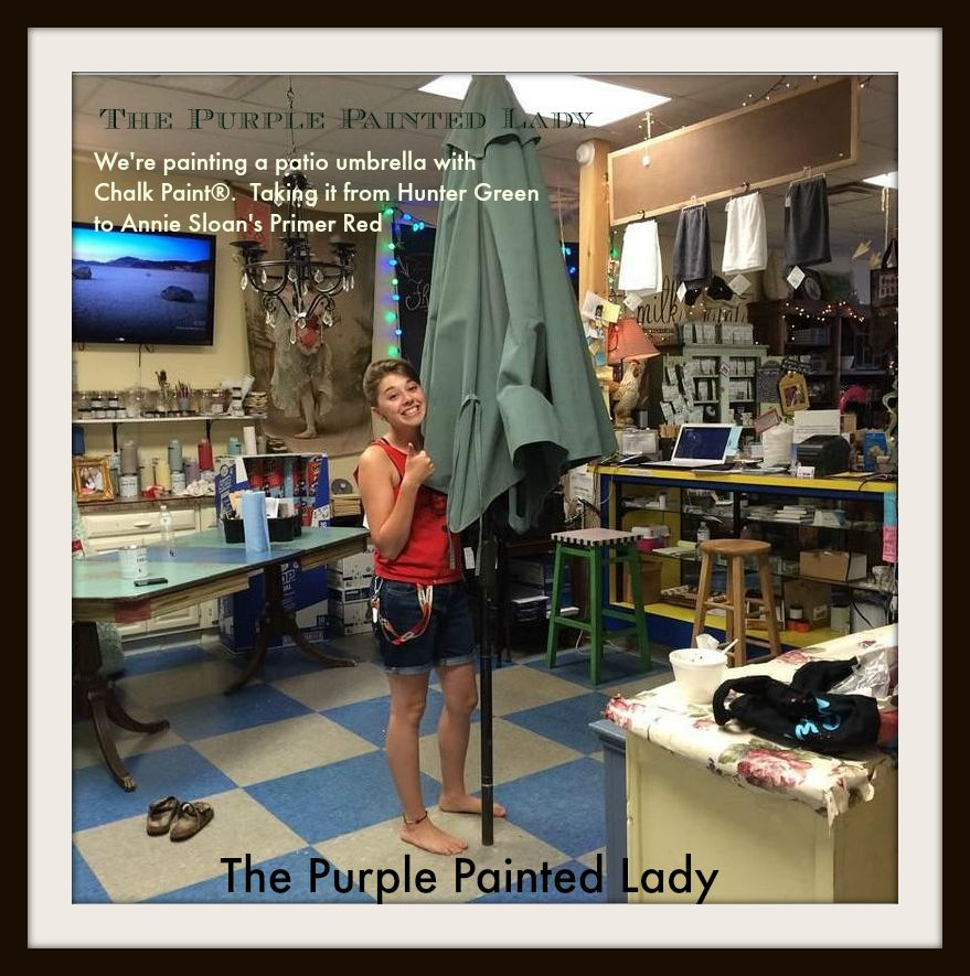 The Purple Painted Lady Courtney Patio Umbrella Chalk Paint Primer Red