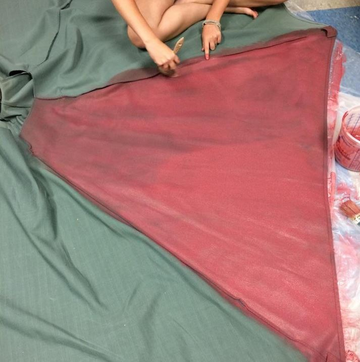 The Purple Painted Lady Patio Umbrella Primer Red In Process 2