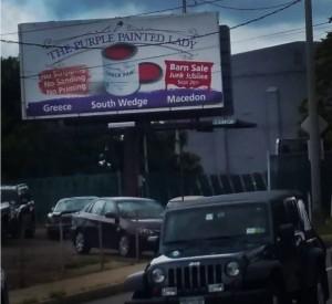 The purple Painted Lady Barn Sale Billboard University Winton August 2015