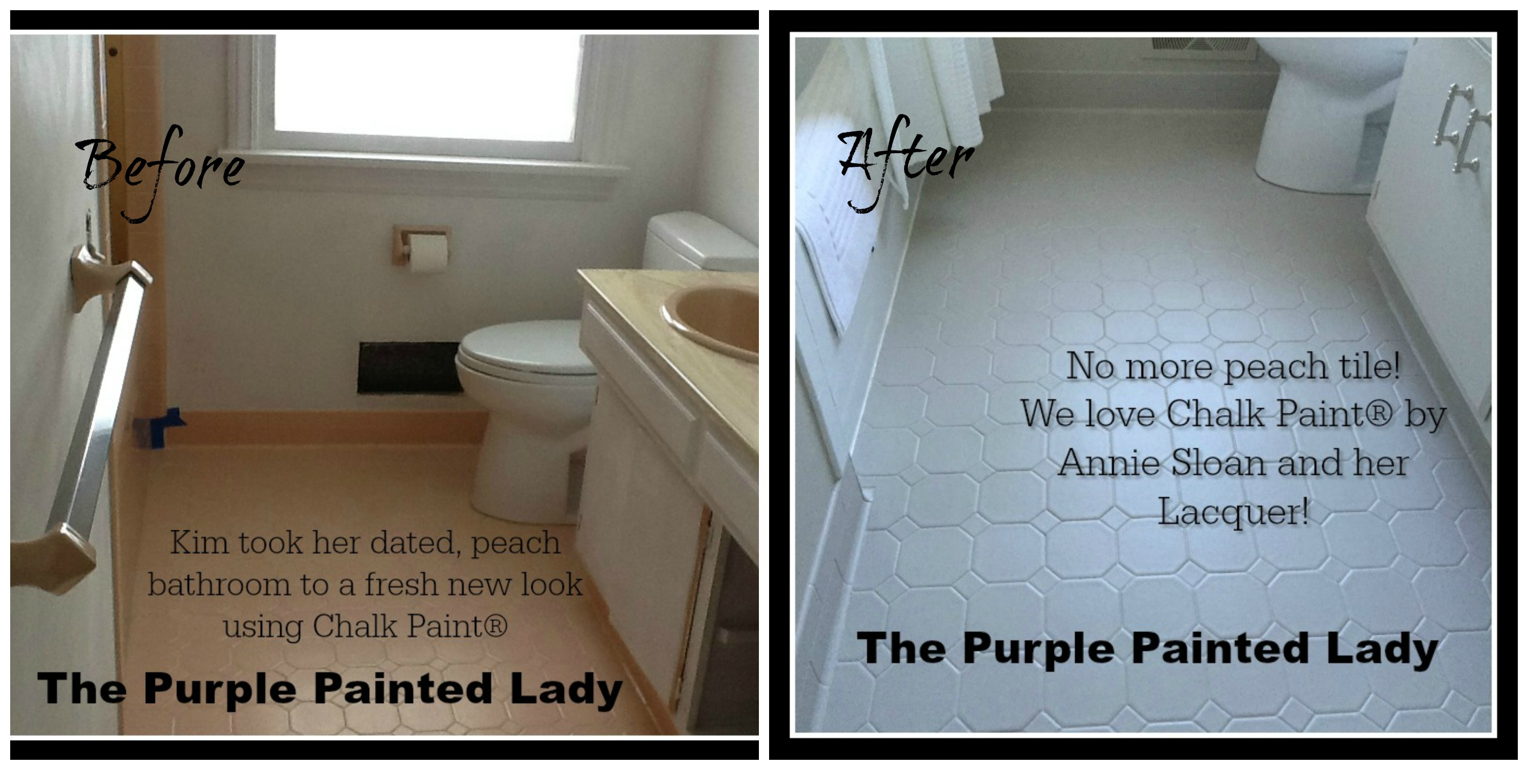 Painting tile in the bathroom with chalk paint the purple the purple painted lady kim gray before after chalk paint annie sloan dear trish i spoke with you a few times regarding painting my bathroom tile floor dailygadgetfo Images