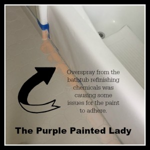 The Purple Painted Lady Kim Gray Tile Floor Chalk Paint AFTER paint did not adhere overspray